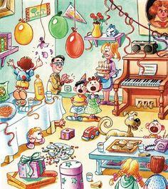 La fiesta de cumpleaños:  ¿Qué ves?  Describe el dibujo.