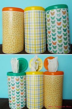 Grocery bag holder using empty Clorox Wipe dispensers & how to roll bags. Not interested in modge podging the outside, but like the idea, especially having one for the car for trash bags! Can also use old Clorox Wipe containers to hold art supplies, etc.