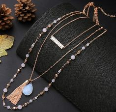 Bijoux Gem Stone & Beads with Fringe and Bar Pendants three layer Euro-style Necklace