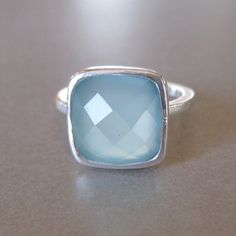 Square Aqua Chalcedony Sterling Silver Ring