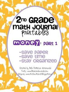 2nd Grade Money Printables for Journals:Part 1 FREEBIE