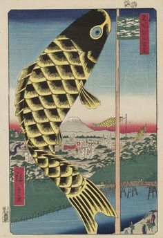 A 1857 woodblock print by Japanese artist Utagawa Hiroshige, showing as part of