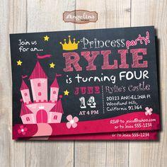 Princess Castle Birthday Invitation. Chalkboard. by AngelinaWorks