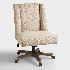 mali ava upholstered office chair fabric by world market, wood chair desk work spaces Farmhouse Office Chairs, Home Office Chairs, Home Office Furniture, Rustic Office, Office Desks, Farmhouse Table, Upholstered Desk Chair, Desk Chairs, Wooden Chairs