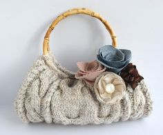 Customizable Soft Natural Cable Knit Spring Purse with your choice of removable flower clips.