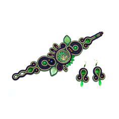 Soutache set jewelry earrings bracelet turquoise green purple navy blue shop handmade jewelry gift woman for sale to buy pulsera pendientes by SoutacheFlowOn on Etsy