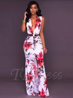 98ea1b5715d Tbdress.com offers high quality Zipper V-Neck Floral Bodycon Women s Maxi  Dress Maxi
