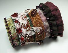Dangerous Liaison - Romantic vintage inspired fabric cuff bracelet
