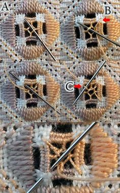Hardanger Embroidery Tutorial Nutmeg (filling stitch) (for Hardanger - Hardanger Embroidery, Paper Embroidery, Embroidery Stitches, Embroidery Patterns, Embroidery Supplies, Types Of Embroidery, Learn Embroidery, Crochet Doily Patterns, Crochet Doilies
