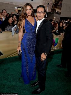 Shannon De Lima & Marc Anthony at 2014 Latin Grammy Awards Red Carpet Arrivals These happy-in-love newlyweds know how to arrive in style! Shannon stuns in a beaded, cobalt-blue gown, while Marc wears a sleek black tuxedo. Red Carpet Dresses, Blue Dresses, Prom Dresses, Marc Anthony And Jlo, Latin Grammy, Blue Gown, Designer Gowns, Formal Wear, Evening Dresses