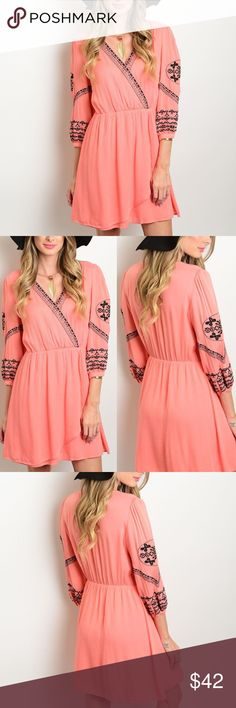 ✨ Coral Dreams Dress ✨ This dress is a coral dream! You can't help but see you in this!😀 There's lovely embroidery that just adds to the fun 100% Rayon! 💁🏾✨Happy Poshing 😀  📫 Same/Next Day Shipping 🏡 Odor Free 🐩 Pet Free 🚫 PayPal/Trade 💪🏾 Price is Firm Boutique Dresses Midi
