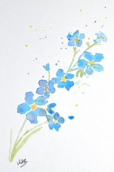 SALE 15% OFF Watercolor Forget Me Not Flower by MABArtStudio