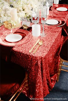 This Red Sequin Tablecloth is perfect for the coming Valentine's day dinner decor by ArcadiaWeddingDesign