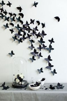 Black butterfly decor. Nice idea for black and white party.
