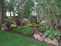 100_1689 Shade Garden, Landscape Design,Hosta,Astble, Heuchera, Gardens, Landscaping, Rock Garden, Shade Garden | 1000 - Modern#designhostaastble #garden #gardens #heuchera #landscape #landscaping #modern #rock #shade Landscaping With Rocks, Front Yard Landscaping, Backyard Landscaping, Landscaping Ideas, Backyard Ideas, Landscaping Borders, Burm Landscaping, Wooded Backyard Landscape, Landscape Bricks