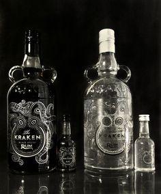"""""""The Kraken Packaging Redesign"""". Botella de Ron 'Kraken'. Woah!!! Lo quiero. Punto."""