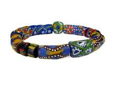 Multicolor Krobo / Powder Glass Recycled Glass Beads Stretch Bracelet #abr116