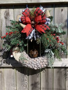Excited to share this item from my #etsy shop: Christmas Rustic Farmhouse Wreath, Buffalo Plaid-Buffalo Check Christmas Decor, Rustic Bell Wreath, Pinecone Wreath, Farmhouse Christmas