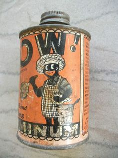 Vintage Black Americana Advertising Tin Can WOW Liquid Metal Polish   eBay