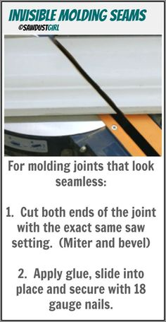 How to make invisible seams in trim molding, including crown moulding. https://sawdustgirl.com