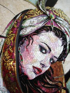 Arabian woman,mosaic of Carole Choucair Oueijan mosaiquist,ceramic material. Mosaic Glass, Mosaic Tiles, Stained Glass, Glass Art, Mosaic Crafts, Mosaic Projects, Pintura Colonial, Sicis Mosaic, Art Pierre