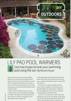 Weekend Project Lily Pad Pool Warmers Pdf Diy Inspiration Of Diy Pool Heater Pool Warmer, Solaire Diy, Piscine Diy, Living Pool, Solar Cover, Pool Hacks, In Ground Pools, Cool Pools, Pool Designs