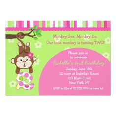 Monkey 2nd Birthday Party Invitations Parties Luau 1st Cakes