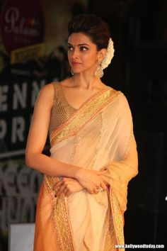 "Bollywood actress Deepika padukone in white transparent saree,backless blouse traditional photos at ""Chennai express"" movie promotion in Chennai. Bollywood Saree, Bollywood Fashion, Bollywood Actress, Indian Celebrities, Bollywood Celebrities, Indian Attire, Indian Wear, Indian Dresses, Indian Outfits"