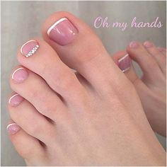 French Pedicure with Crystals for Brides to Be #PedicureIdeas