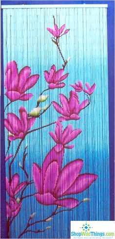 Bamboo Painted Curtain - Blue with Pink Flowers