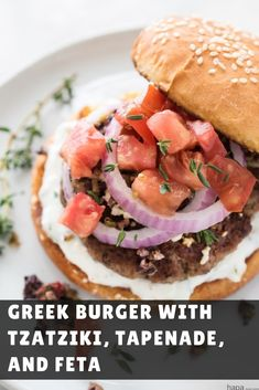 13 Mediterranean-Inspired Dinners to Spice Up Your Weeknight Routine 13 Greek Burger With Tzatziki Tapenade and Feta mediterranean dinner recipes greatist Greek Recipes, Italian Recipes, Protein Burger, High Protein, Greek Burger, Healthy Dinner Recipes, Cooking Recipes, Delicious Recipes, Cheese Recipes