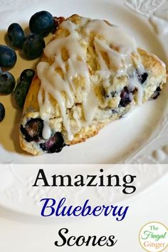 This is the best blueberry scone recipe that I have made I love the yummy lemon glaze on top It s an easy breakfast idea and perfect for brunch scones breakfast brunch blueberries Breakfast Scones, Breakfast Dishes, Breakfast Recipes, Frozen Breakfast, Breakfast Sandwiches, Breakfast Burritos, Breakfast Ideas, Patisserie Vegan, Blueberry Desserts