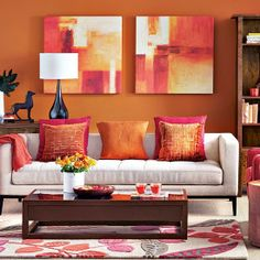 paprika and beige orange living roomsorange roomsliving room designsliving - Orange Living Room Design