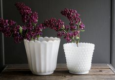 Vintage milk glass planters