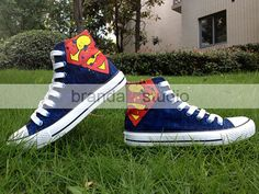 2013 New Birthday Superman Studio Hand Painted Shoes High Top,Paint On Custom Converse Shoes