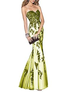 17094b0c8f5 Monalia Womens 2018 Lace Mermaid Evening Prom Dress Sweetheart Party Gown  EV87 Lime Custom --