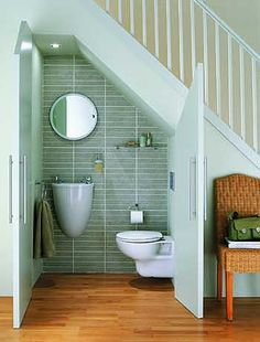 awesome! bathroom under stairs #nicherooms
