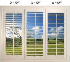 Shutters   Sunkist Shutters Blinds Shades   Shutters in Riverside, Orange County, Palm Springs, Omaha Example of how louver width sizes can impact your view.  www.sunkistshutters.com