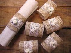 Burlap Napkin Rings, Burlap/Lace Rustic, Set of Lace and Roses, Rustic Wedding Decor Rustic Napkin Rings, Rustic Napkins, Diy Napkin Rings, Wedding Napkin Rings, Christmas Napkin Rings, Burlap Crafts, Diy And Crafts, Arts And Crafts, Diy Wedding
