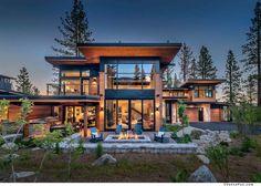 Mountain Home Exterior, Modern Mountain Home, Dream House Exterior, Lake House Plans, Mountain House Plans, Mountain Cottage, Modern Lake House, Modern House Design, Casas Country