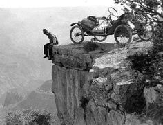 A tourist and his car at the edge of the Grand Canyon 1914 photo by ClassicPics