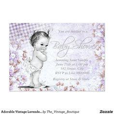 Adorable Vintage Lavender Baby Shower 13 Cm X 18 Cm Invitation Card