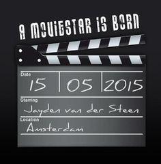 Geboortekaartje regisseurs bord. De goedkoopste geboortekaartjes online ontwerpen en bestellen via http://www.geboortepost.nl/geboortekaartjes/foto-zelf-plaatsen/directors-board-vk.html