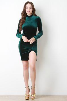 Velvet Mock Neck Long Sleeve Mini Dress