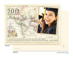 Vintage World Map Digital Photo Card: Unique and beautiful photo Graduation Announcements by take note! designs. Your custom text and font selections, will create the perfect Graduation Announcement for your special Graduate.