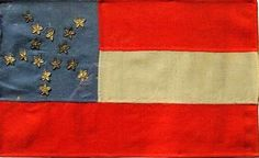 Confederate Bible Flag in the Stars and Bars Configuration in a rare Grand Luminary or Great Star Pattern.  The 15 Stars is unusual, and most likely represents the 11 Seceded States, 2 Dual Government States (Kentucky and Missouri) and 2 Seceding Territories (Oklahoma and Arizona) from Rare Flags    Bible flags are tiny flags made for a soldier by a loved one and presented as a token of pride and affection when he went away for war. Bible flags were most often made of ladies' dress silk.