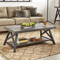 Brice X Base Cocktail Table Rustic Gray - Inspire Q Grey Wood Furniture, Country Furniture, Farmhouse Furniture, Farmhouse Decor, Modern Furniture, Modern Farmhouse, Kitchen Furniture, Living Furniture, Furniture Ideas