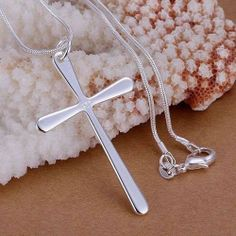 925 Silver fashion jewelry Pendants Chains necklace Long cross
