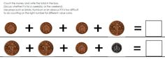 Number bonds to 5p and 10p (and subtraction) Follow-on resource. Illustrated with PCS or Widgit symbols.