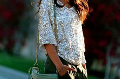 Love this bag & top! Rebecca Minkoff MAC in moss (and sparkly top) Passion For Fashion, Love Fashion, Fashion Beauty, Womens Fashion, Fashion Ideas, Nail Fashion, Fashion Styles, Bling Bling, Glamour